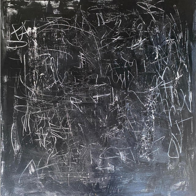 Layers of materials create a rich and textured background, covered in black acrylic and scratched through in random...