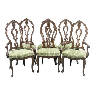 Louis XV Carved Walnut Dining Chairs - Set of 6