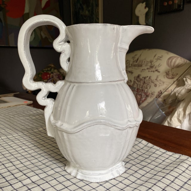 French Astierre De Villatte White Pitcher For Sale - Image 9 of 9