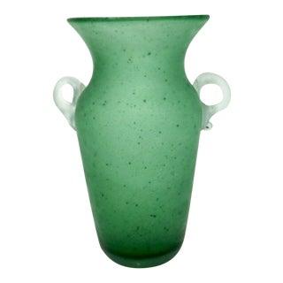 """1970s Murano Seguso Vetri d'Arte Green """"A Scavo"""" Glass Amphora Vase For Sale"""