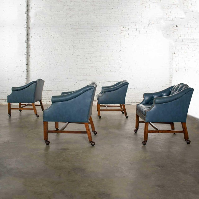 Blue Vinyl Faux Leather Chinese Chippendale Tub Style Rolling Game Chairs Set of Four For Sale - Image 4 of 13