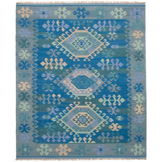 Vintage Turkish Blue and Beige Boho Chic Kilim Rug - 8′ × 10′ - Image 2 of 5