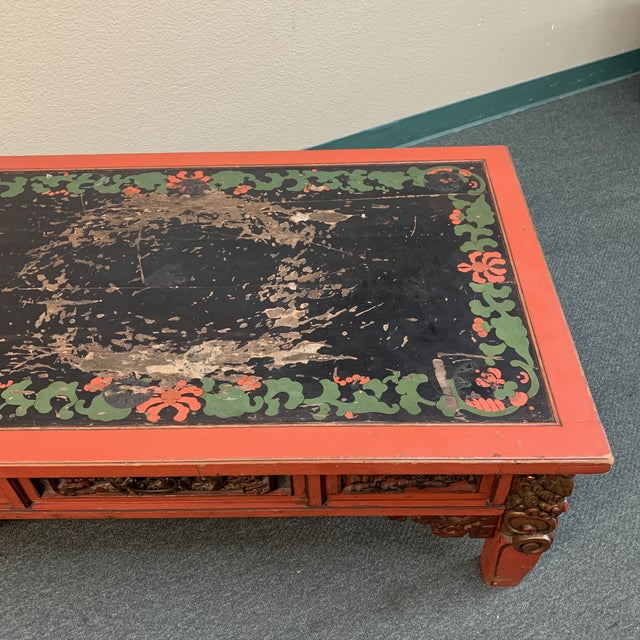 Mid-20th Century Chinese Hand Painted + Carved Coffee Table For Sale - Image 11 of 12