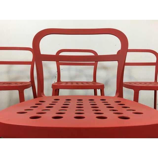 Set of 4 Contemporary Painted Red Metal Side Chairs - Image 4 of 7