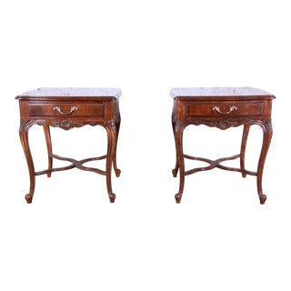 Drexel Heritage French Parquetry End Tables, Pair For Sale