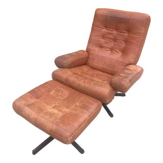 Mid-Century Modern Mobler Patchwork Leather Chair and Ottoman For Sale