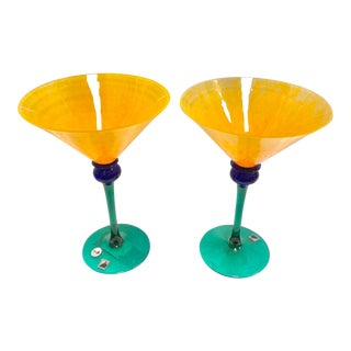 "Signed Opus ""Mardi Gras"" Orange Martini Glasses - Set of 2 For Sale"