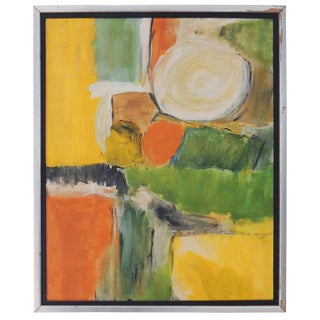 1960s Vintage Abstract Oil on Board Painting For Sale