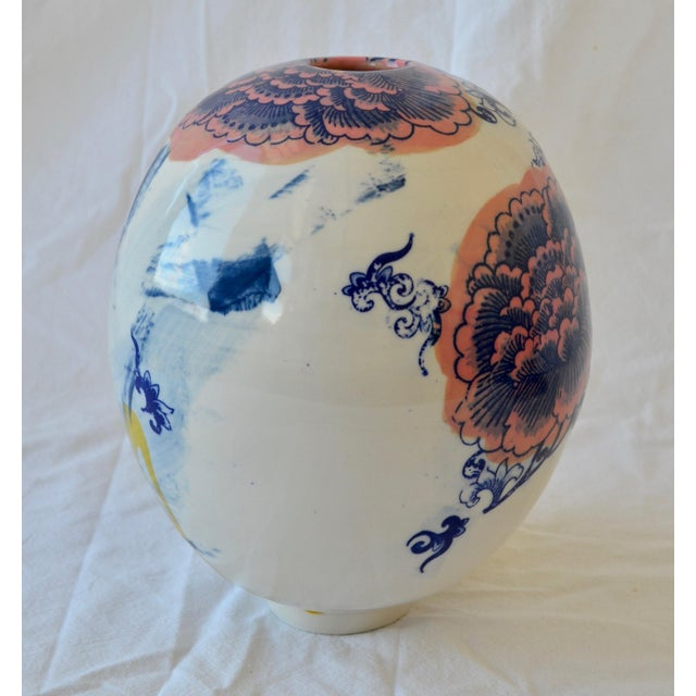2010s Contemporary Ceramic Large Chrysanthemum Egg Vessel For Sale - Image 5 of 7