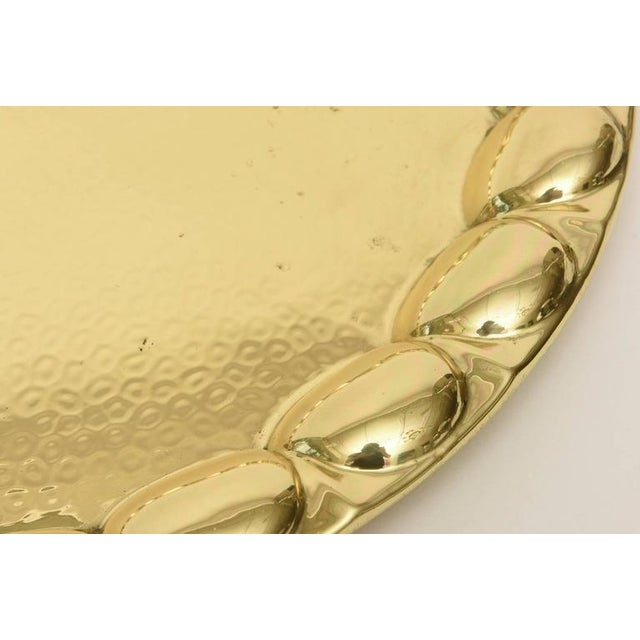 Gold Hand-Hammered Circular Polished Brass Monumental Serving/Barware Tray For Sale - Image 8 of 10