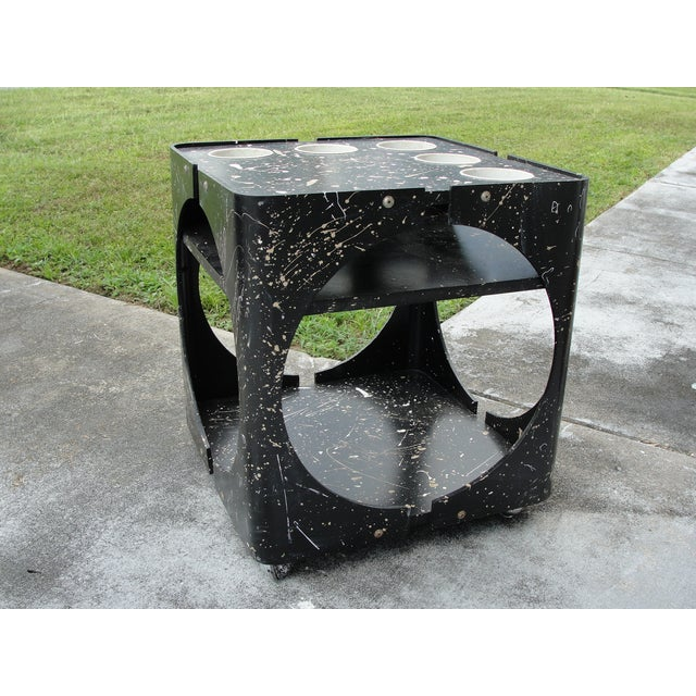 Abstract Geometric Rolling Bar Cart/Table - Image 5 of 9