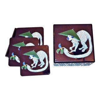 Lacquered Chinoiserie Monkey Box & Coasters