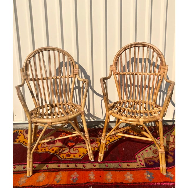 What a Pair! Two Franco Albini style bistro chairs. Made from bamboo rattan. perfect for your covered patio! *Please send...