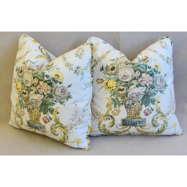 "Schumacher Floral Airlie Bouquet & Chenille Feather/Down Pillows 21"" Square - Pair For Sale - Image 9 of 13"