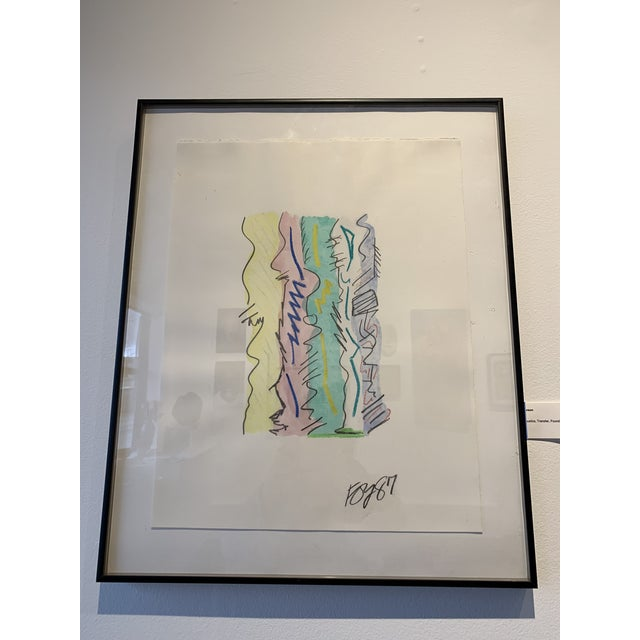 Turquoise 1980s Postmodern Mixed Media Drawing For Sale - Image 8 of 8