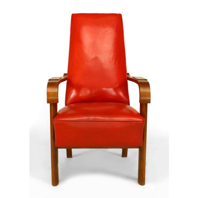 French French Oak Red Leather Arm Chair For Sale - Image 3 of 5