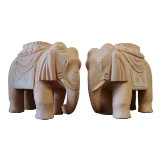 Carved Solid Rose Marble Elephant Garden Tables- a Pair For Sale