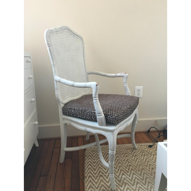 Hollywood Regency White Faux-Bamboo & Cane Armchair For Sale - Image 3 of 6