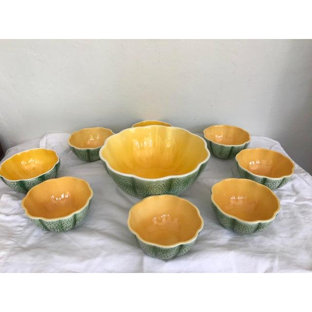 Vintage Knobler Japan Melon Cantaloupe Serving Bowl & 8 Matching Bowls For Sale - Image 11 of 11