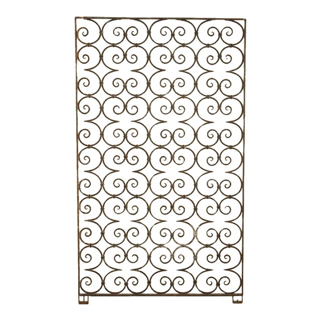 1940s Antique Large Wrought Iron Architectural Panel Divider For Sale