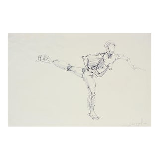 """Life Drawing in Fairfax Church, Patty Dancing"" Ink on Paper Figure Study, 1980"