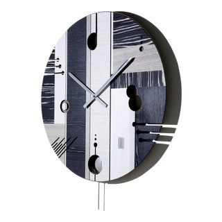 Italian ArosioMilano by Midarte Inlaid Wooden Wall Clock For Sale