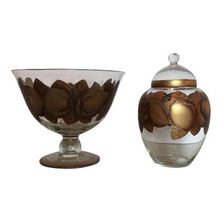 Vintage Compote & Jar - A Pair For Sale