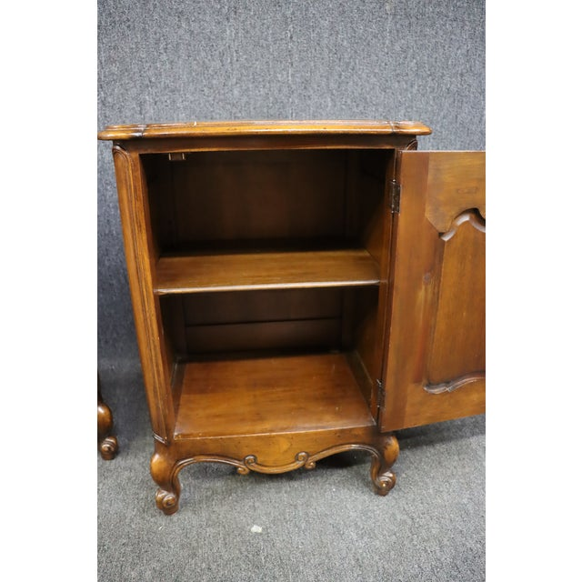 Louis XV Style Carved Cherry Nightstands - a Pair For Sale In Philadelphia - Image 6 of 8