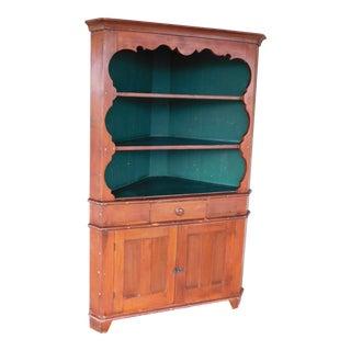 Antique 19th Century Pine 1 Piece Corner Cabinet For Sale