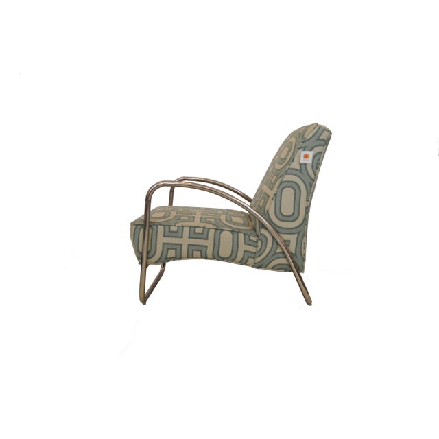 Early 21st Century Organic Modern White and Teal Patterned Neo Club Chair For Sale - Image 5 of 6