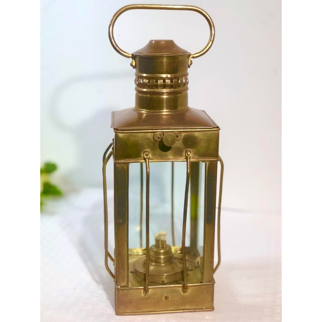 Vintage Nautical Marine Solid Brass Lantern Oil Lamp For Sale - Image 12 of 12