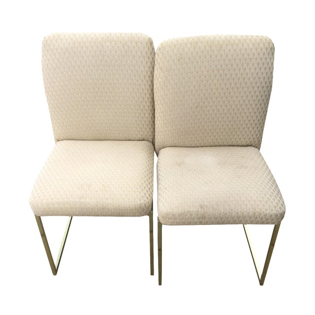 Milo Baughman-Style Brass Dining Chairs - Pair - Image 1 of 6