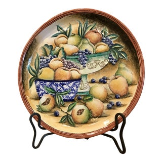 1990s Vintage Hand Painted Majolica Platter For Sale