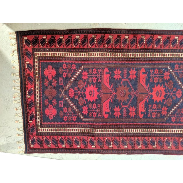 Textile Persian, Hand- Woven Red Rug, With Braided Tassels, Vintage For Sale - Image 7 of 9