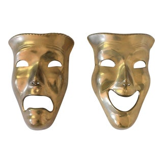 Vintage Comedy & Tragedy Wall Hanging Masks - a Pair For Sale