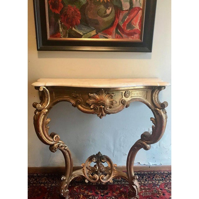 French 19th Century Louis XV Style Carved and Gilded Marble-Top Console For Sale - Image 3 of 11