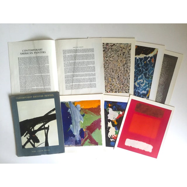 This vintage Mid Century 1966 folio set of 6 full color original lithograph prints of Contemporary American Abstract...
