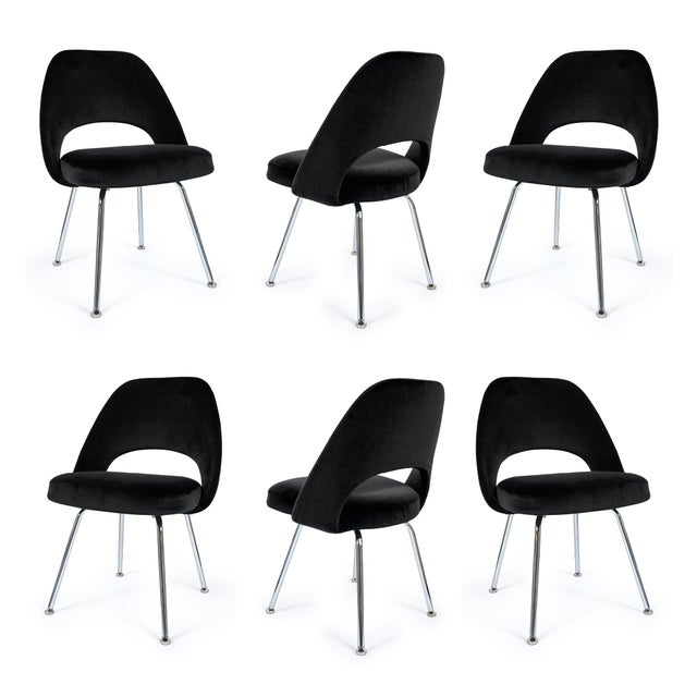 Saarinen Executive Armless Chairs in Noir Velvet - Set of 6 - Image 2 of 5