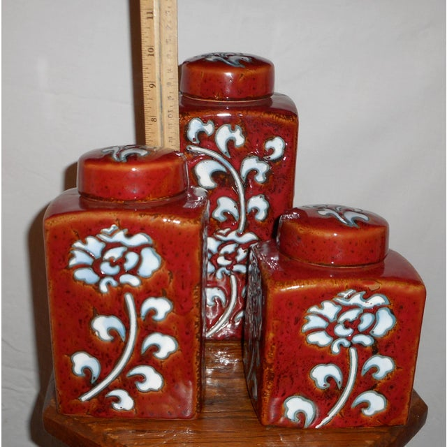 Chic Kitchen Oxblood Red Glaze Pottery Canisters - Set of 3 - Image 3 of 13