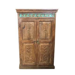 Antique Farmhouse Armoire Artistic Carved Cabinet For Sale