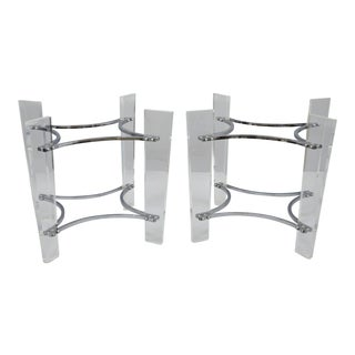 Mid-Century Modern Kagan Style Lucite & Chrome Sculptural End Table Bases - a Pair