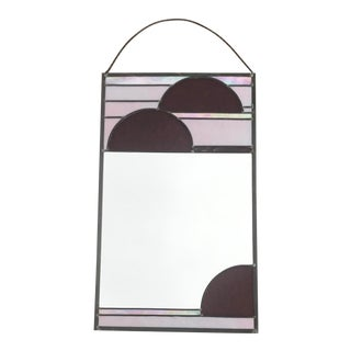 1980's Vintage Stained Glass Iridescent Arc Hanging Mirror For Sale