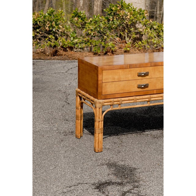 Stunning Vintage Henredon Console on Rattan Base For Sale In Atlanta - Image 6 of 11