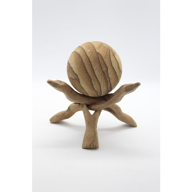 1970s Vintage Australian Natural Sandstone Sphere and Carved Mango Wood Stand - 2 Pieces For Sale - Image 4 of 4