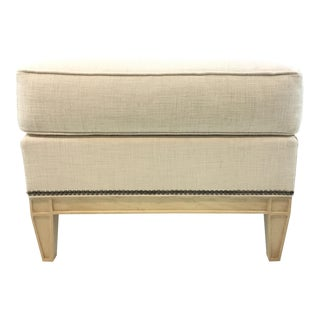 Hickory Chair Modern White Linen Monroe Ottoman For Sale
