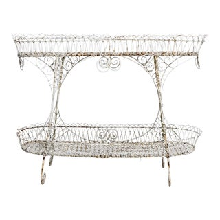 Victorian Scroll Wire Two-Tier Display Plant Stand For Sale