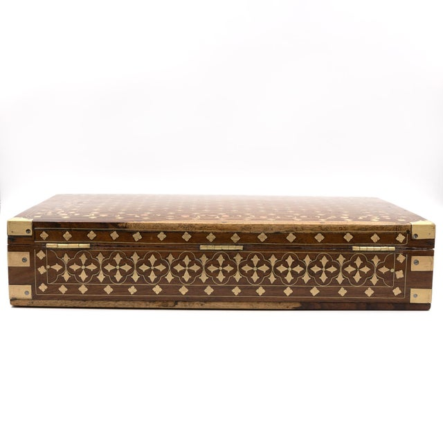 Gold Anglo Indian Teak Box With Brass Inlay, India, Circa 1860 For Sale - Image 8 of 11
