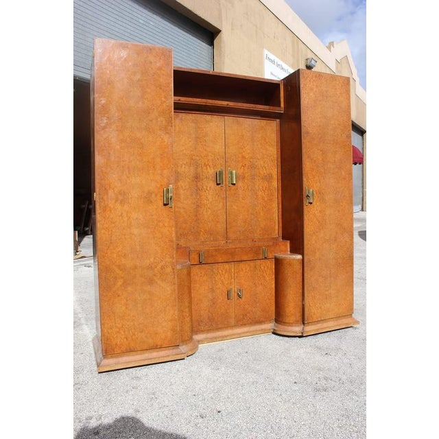 Monumental French Art Deco Burl Amboyna Vanity Armoire Circa 1940s - Image 2 of 8