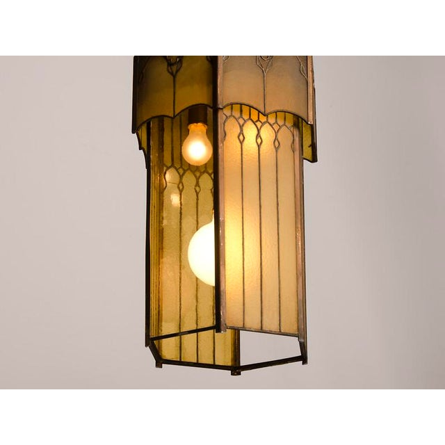 Glass Edwardian English Arts and Crafts Period Tall & Slender Hexagonal Metal Frame & Glass Lantern For Sale - Image 7 of 9