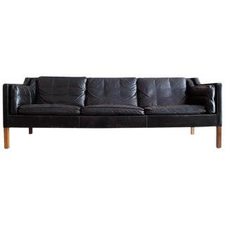 Børge Mogensen Three-Seat Sofa, Model 2213 in Black Leather, Denmark, 1962 For Sale